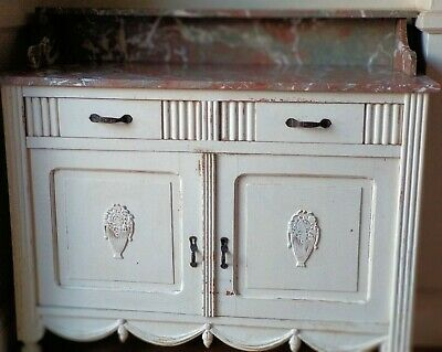 Antique French Oak Cupboard/Cabinet/Sideboard With 2 Drawers and Marble Top