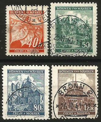 Germany (Third Reich) 1940 Used - Bohemia Moravia - Defins. Linden & Landscapes