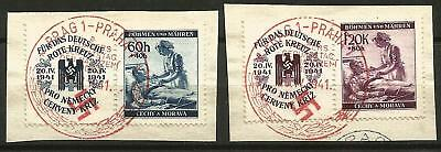 Germany (Third Reich) 1941 CTO - Bohemia/Moravia Red Cross Relief Fund (labels)