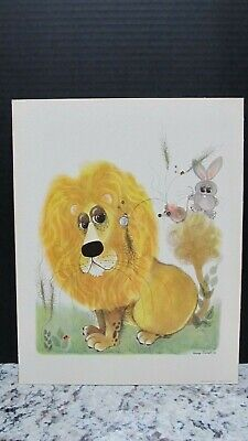 Vintage George Buckett Lithograph Print Big Eyed Lion 1963 No Frame Bunny Mouse