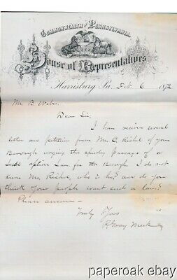 1872 Letter From P. Gray Meek In The Pennsylvania House of Representatives