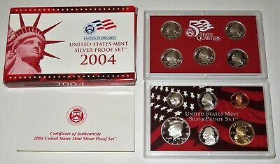 2004 US Mint Silver Proof Set w/ Box and COA - 11 Coin Set