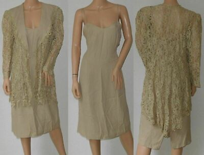 Vintage Taupe Sheer Lace See Through Formal Party Spaghetti Strap Dress Jacket
