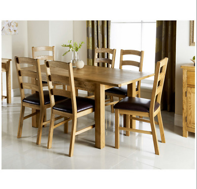 7pc Wiltshire Oak Dining Set Brand New High Quality Wooden Furniture