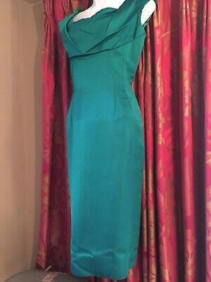 Rare Original Vintage 50s Wiggle Dress Turquoise green Approx Size 10.