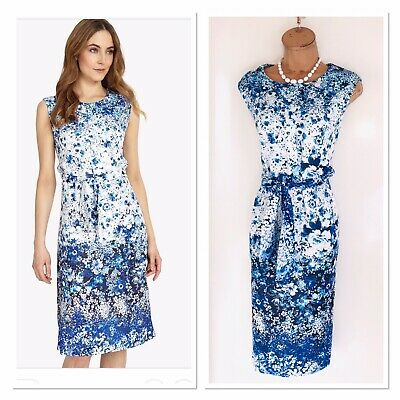 New PHASE EIGHT Blue White /Tie Waist/ Side Pockets Floral Dress Uk 16