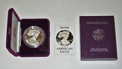 1986-S Proof 1oz American Silver Eagle Dollar w/ Box & COA