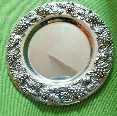 Vintage Silver Plate flat wine or Bottle coaster with Grape pattern