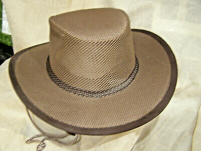 f159f295a9016 Stetson Mens Brown Mesh Covered Safari Hat Size Large W Chin Strap