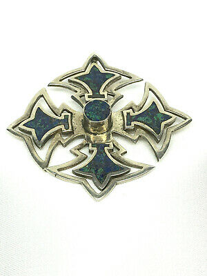 Vintage Taxco Mexico 925 Sterling Silver Azurite Inlay Cross Pendant/Pin