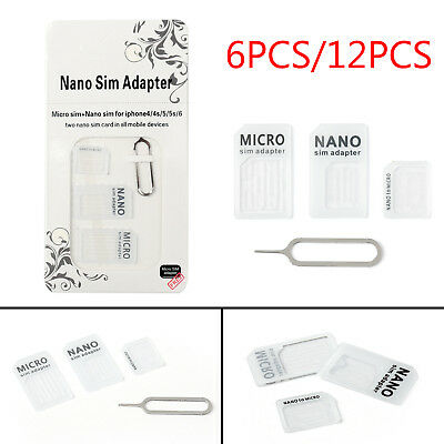 6/12PCS Nano SIM Card to Micro Standard Adapter Converter Set For iPhone Samsung