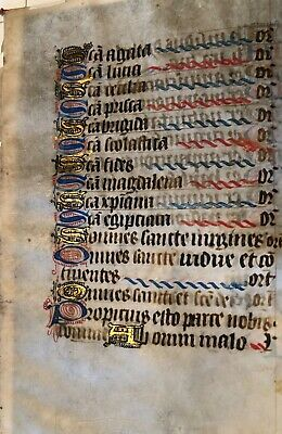 ILLUMINATED MANUSCRIPT - 14th CENTURY PAGE SHOWING LIST OF SAINTS DAYS