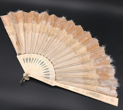 Grand Eventail Ancien Feuille Soie Dentelle - Antique Fan