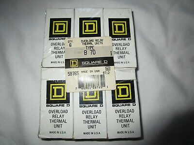 6 Square D Overload Relay Thermal Units Type B 70 Nib