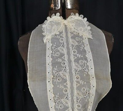 blouse dicky net chiffon embroidered lace  Edwardian original one size bust vg