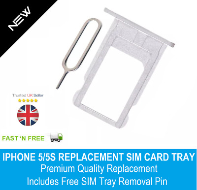 Nano Sim Card Tray Holder Replacement for iPhone 5 5S White Silver + SIM Pin
