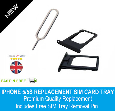 Nano Sim Card Tray Holder Replacement for iPhone 5 5S Black + SIM Pin