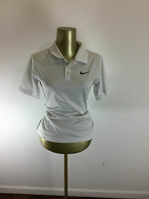 3bf16c8d NIKE DRI-FIT Button V-Neck White Tennis Polo Shirt Boy's Size Large