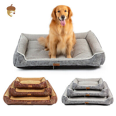 B6 Deluxe Coffee Large Dog Bed Cat Pet Pillow Fleece Fur Velvet Oxford Frabric
