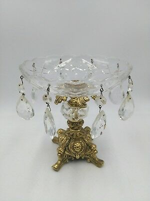 Vintage Cut Glass Compote Bowl 8 Prisms Brass Pedestal Base Hollywood Regency