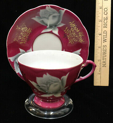 Pink Tea Cup & Saucer Porcelain Rose Floral Flower Shafford Pair Display Stand