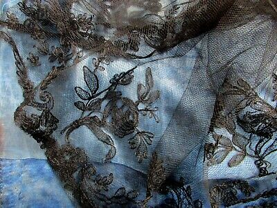 Most Exquisite Delicate Antique French Silk Rose Scroll Wreath Lace Flounce Trim