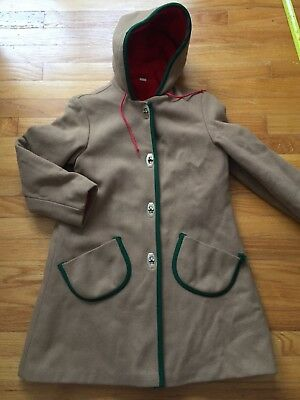Vintage Girls Wool Coat Hood Tan Piping Sz 14 Large Pockets Vntg Condition