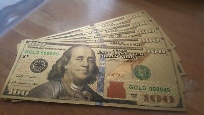 Lot of (5) Beautiful Gold Foil $100 Bills, No Cash Value. For Collectors Only!
