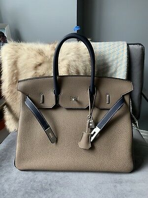 AUTHENTIC HERMES BIRKIN 35cm Etoupe Clemence Leather PHW -  9 d8b3f66a46999