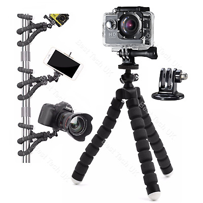 For GoPro HERO 2018 Action Cam Camera Flexible Tripod Gorilla Mount Stand in BLK