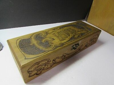 Vintage Arts And Crafts Flemish Art Co Signed Ladies Wooden Glove Box