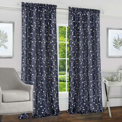 "Chloe Navy Floral Modern Window Curtain Panel : 50"" x 84"", Rod Pocket Panel"