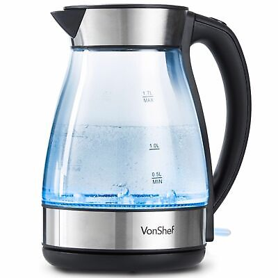 Premium 1.7L Cordless Electric Glass Kettle with Blue Illuminating Jug LED New