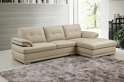 Italian Leather Lounge SOFAS Chaise Corner 2 Seats + Chaise ! - Aroma