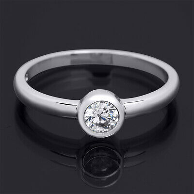 Elegant Single Stone 0.20 CT Promise Ring Wedding BAND Sterling Silver Size 5-9