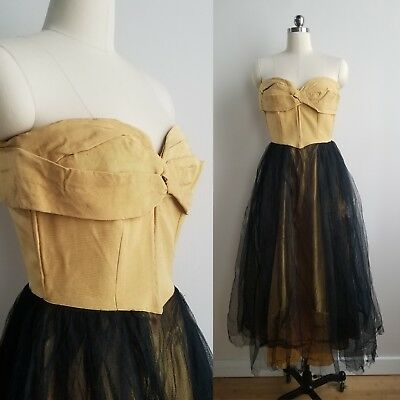 True Vintage 1950s Prom Dress Black and Yellow Pinup Rockabilly Swing XS