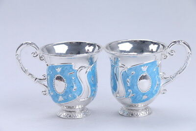 Exquisite Chinese  Cloisonne handmade flower a pair cup  bb450