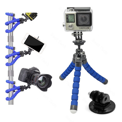 For GoPro HERO 7 Black Action Cam Camera Flexible Tripod Gorilla Mount Stand BLU