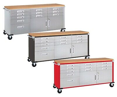 11 Drawer Tool Storage Chest Cabinet Wood Top Workbench Mobile