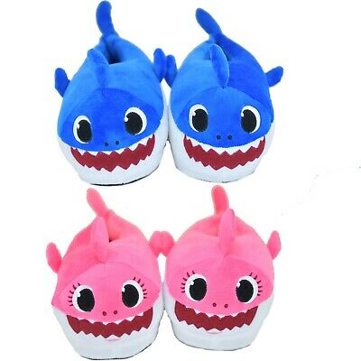 Kids Baby Shark Slippers Plush Soft Warm Winter Shoes Fluffy Cartoon Cute