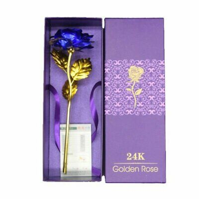 24k Gold Plated Blue Rose Flowers Anniversary Mothers Day Girlfriend Gifts US