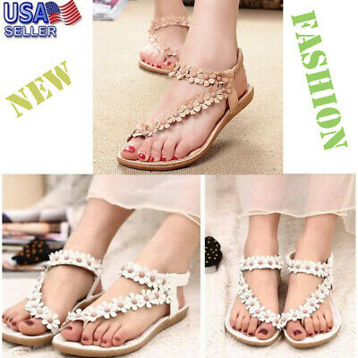 9e33525b73638 Women Summer Bohemia Sweet Beaded Sandals Girl s Clip Toe Flower Beach Shoes  Hot