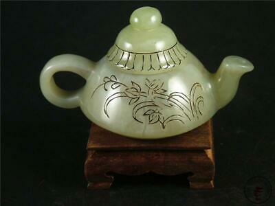 Old Chinese Celadon Nephrite Jade Teapot Statue ORCHID & CALLIGRAPHY w/ Stand