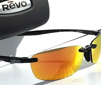 79ccc6e82e5 NEW! REVO DESCEND E In BLACK w POLARIZED FIRE Orange Lens Sunglass 4060 01  OG