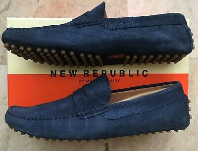 4e4c929f053 Men s New Republic by Mark McNairy Barclay Suede Driver Loafers Blue Size 12