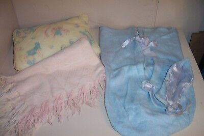 3 Antique Baby Bedding, Blanet & Pillow, Blue Bunting & Bonnet