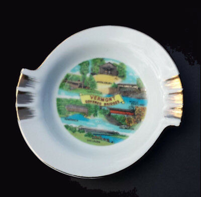 """Ashtray Vermont Covered Bridges 5"""" in diameter fine porcelain with gold paint"""