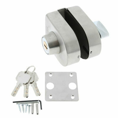 Stainless Steel Home Thumb Turning Way Single Glass Door Lock Kit with 3 Keys