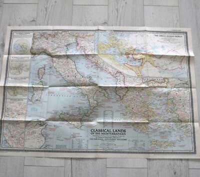 Vintage December 1949 National Geographic large fold out map Classical Land
