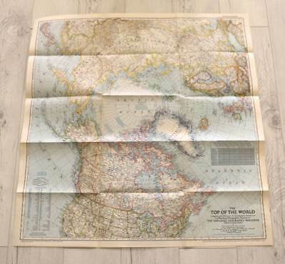 Vintage October 1949 National Geographic fold out large map Top of The World